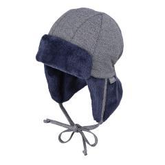 Baby Junge Wintermütze Fliegermütze gefüttert zum Binden gemustert, marineblau – 4602054