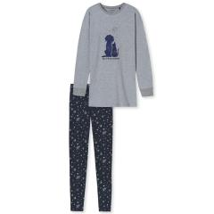 """Mädchen Schlafanzug zweiteilig Pyjama Langarmshirt """"Hund und Katze""""-Print und """"you are my universe""""-Schriftzg und Schlafhose mit """"Planeten und Cosmic""""-Alloverprint, grau - 175101"""