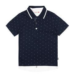 Boboli Jungen kurzarm Hemd festlich gepunktet, dunkelblau - 737412