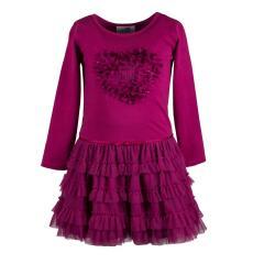 Eisend-Mädchen Langarm Kleid einfarbig- Glänzender Print''Herz''- Berry-993172