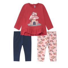 """Mädchen Baby Shirt Langarmshirt Leggins Set 3-teilig gemustert """"Fliegenpilze"""", fuchsia - 2.792"""