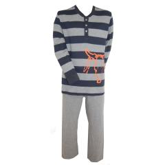 Langarm Schlafanzug Jungen gestreift, Grau