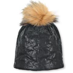 Mädchen glänzende Wintermütze mit Baumwollfleece-Futter und Bommel aus Kunstpelz, dunkelgrau - 4421904