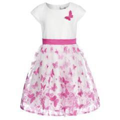 Eisend Mädchen Festkleid Sommer Kleid mit Schmetterlinge, pink - 594116