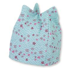 Mädchen Sommermütze, Zackenmütze, UV-Schutz 50+, blau mit Blümchen - 1401965