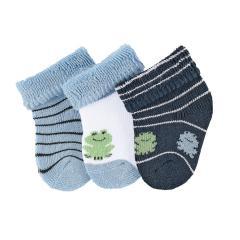"""Baby Jungen Erstlingssöckchen Neugeborenen Socken Plüsch 3er-Pack Babysöckchen 3 Paar gefüttert """"Frosch"""", himmelblau – 8202001"""