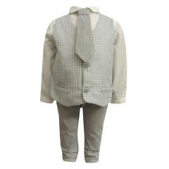 Festliches Baby Jungen Set Hose Weste Hemd und Krawatte, grau