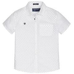 Festliches kurzarm Jungenhemd gemustert, weiß - 6125