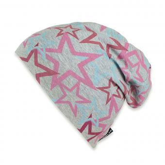Mädchen Sommermütze, Slouch-Beanie, grau-pink, LSF 50+ - 1521905