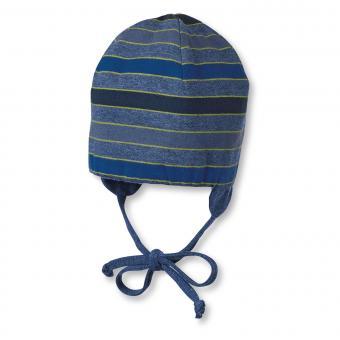 Mütze Wendemütze Übergangsmütze Junge zum Binden und Ohrenschutz von Sterntaler, dunkelblau - 4501705db