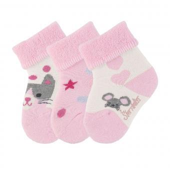 """Baby Mädchen Erstlingssöckchen 3er-Set Plüsch Socken """"Katze Maus"""", rosa beige - 8401923"""
