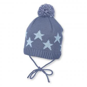 Baby Jungen Mütze Strickmütze zum binden mit Bommel und Sternen, gefüttert von Sterntaler, blau - 4701708