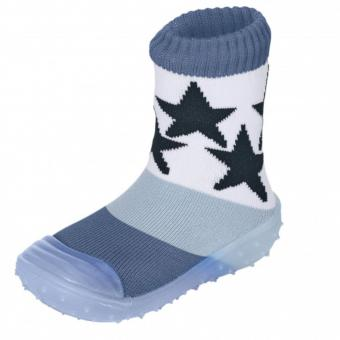 "Jungen Baby Kinder Anti-Rutsch-Socken Adventure-Socks Socken-Schuh-Kombination ""Stern"" ,tintelblau-metall - 8361910"