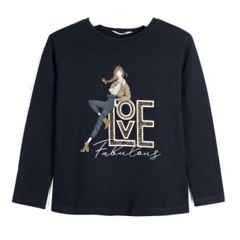 "Mädchen Shirt Langarmshirt Print ""Love Fabulous"" Glitzersteine, dunkelblau - 7.068db"