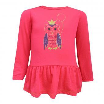 Baby Mädchen Langarmkleid Eule, pink