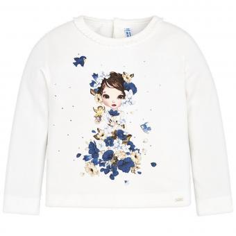 Mädchen Shirt mit langen Armen, dunkelblau - 4.046