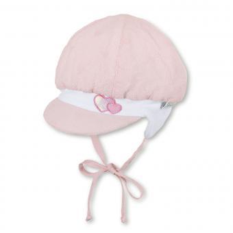 """Baby Mädchen Ballonmütze zum Binden Erstlingsmütze mit LSF UV-Schutz 15 Sommermütze mit Schirm und Ohrenschutz """"Glitzer-Herzen"""", rosa – 1402042"""