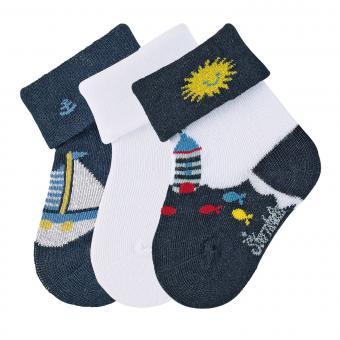 "Baby Jungen Socken 3er-Pack Babysöckchen Erstlingssöckchen 3 Paar ""Leuchtturm/Boot/einfarbig"", marineblau, weiß – 8312051"