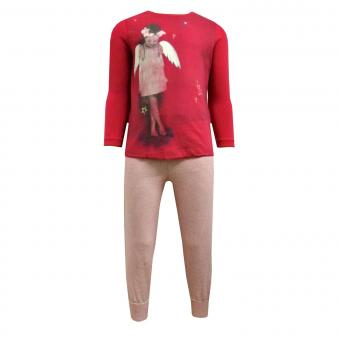 Mädchen Zweiteiliger Schlafanzug Engel, rot- 232041