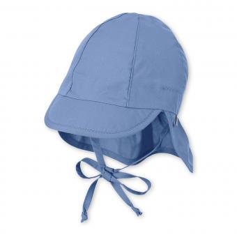 Baby Jungen Schirmmütze zum Binden LSF UV-Schutz 50+ Sommermütze Schildmütze mit Nackenschutz, einfarbig samtblau – 1502025