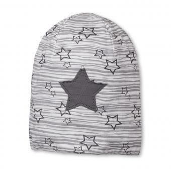 Mädchen Mütze Slouch-Beanie Wendemütze gestreift mit Sternen von Sterntaler, grau - 4521705