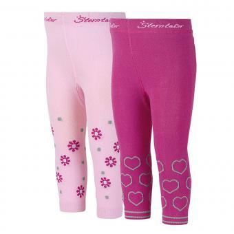 Baby Mädchen Leggins 2-er Pack mit Blumen und Herzen Sterntaler, pink - 8661821