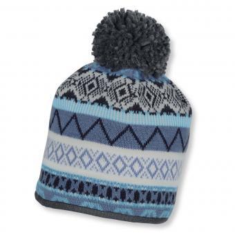 Jungen Wintermütze Strickmütze Bommel, blau