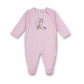 Mädchen Baby langer Schlafoverall einteilig Katze, rosa - 221403