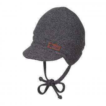 Baby Jungen Mütze Wintermütze zum Binden mit Ohrenschutz Fleece gefüttert, gestreift, Schirmmütze, marine - 4601825