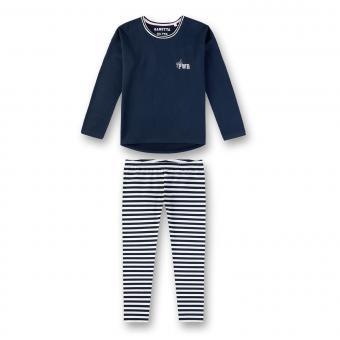 Sanetta Mädchen Schlafanzug Langarm Girl PWR dunkelblau/getreift - 244597