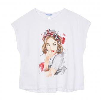 """Mädchen Teens Shirt T-Shirt mit Rückenausschnitt Knoten """"young woman"""", mattweiß - 6.014"""