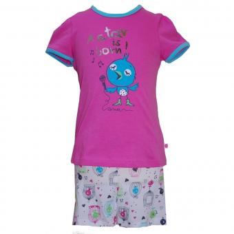 Mädchen Schlafanzug Pyjama Vogel, pink-weiß