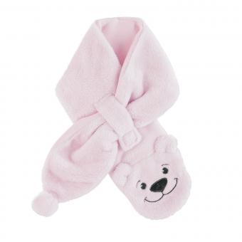 """Mädchen Baby Winter Schal aus Microfleece mit Klettverschluss """"Bär"""" einfarbig, rosa - 4202080-rosa"""