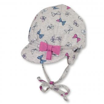 """Baby Mädchen Ballonmütze zum Binden Beanie mit LSF UV-Schutz 50+ Sommermütze mit Schirm und Ohrenschutz """"Schleifen"""", silbergrau-rosa – 1402040"""