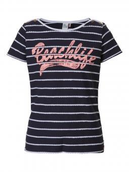 T-Shirt Mädchen Beachlife, weiße Streifen, dunkelblau - G-SS17-TSR057