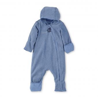 Baby Overall Jungen Fleece mit Reißverschluss Hand- und Fußstulpen, mittelblau - 5501800-mitte