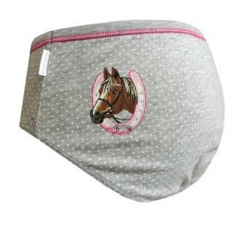 Unterhose Slip Mädchen gepunktet Pferd, grau - 156626