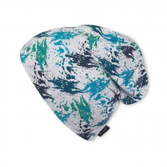 Slouch-Beanie Mütze Jungen Farbkleckse, blau - 1521809