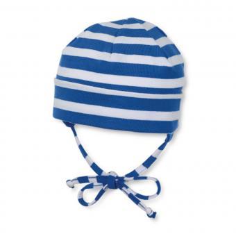 Baby Jungen Mütze zum binden mit Ohrenschutz gestreift, blau - 1501700