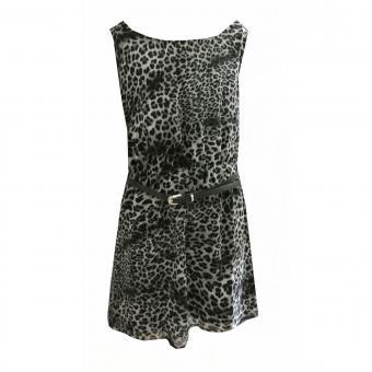 Mädchen Kleid Sommerkleid Abendkleid Leopardenmuster, schwarz-grau
