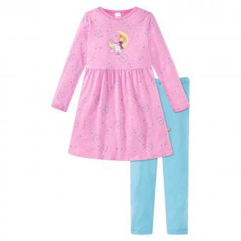 """Mädchen Schiesser Schlafanzug Pyjama Nachthemd langarm mit Leggins """"Prinzessin Lillifee"""", rosa/türkis – 171741"""