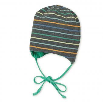 Jungen Wende-Beanie, Mütze zum Binden, dunkelgrau grün, gestreift - 1501902