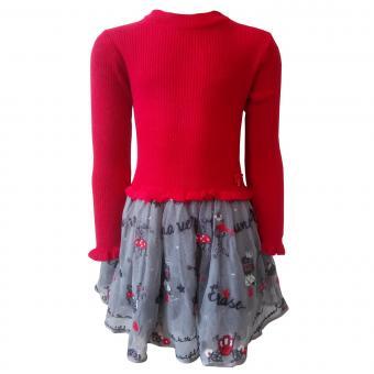 Mädchen Winterkleid Kleid mit Tüll, rot - 4933
