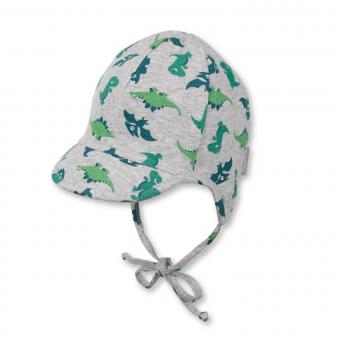 Baby Jungen Schildmütze zum binden mit Ohrenschutz Drachen, grau - 1611801
