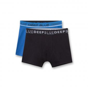 "Jungen Shorts Hipshorts Unterhosen 2er Pack, blau schwarz ""deep blue"" - 345655"