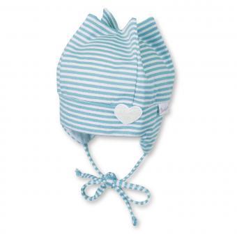 Zipfelmütze zum Binden Baby Mädchen gestreift mit Glitzer, türkis - 1401762