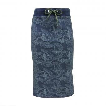 Langer Rock für Mädchen mit Schnürung Blättermuster, blau - RJG-71-124