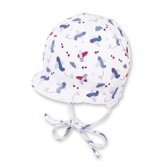 Baby Jungen Schildmütze zum binden mit Ohren- und Sonnenschutz Flugzeuge, weiß - 1601801
