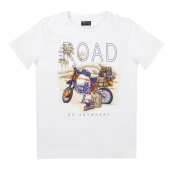 Mayoral Jungen Sommer T-shirt kurzarm mit Motorrad-Motiv Safari, weiß - 6.036