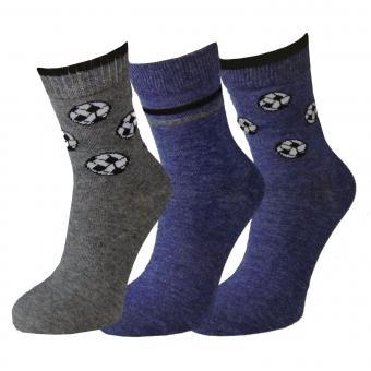 3er Pack Sneaker Jungen Fußball-Motiv, blau